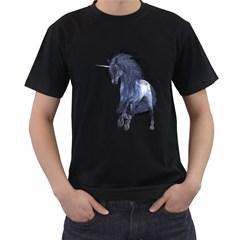 Blue Unicorn 1 Mens' T-shirt (Black)