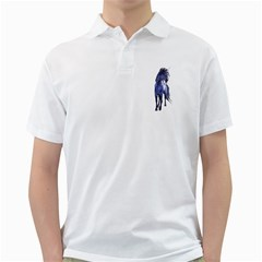 Blue Unicorn 2 Mens  Polo Shirt (White)
