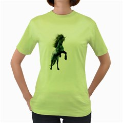 Blue Unicorn 3 Womens  T Shirt (green)