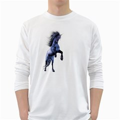 Blue Unicorn 3 Mens' Long Sleeve T Shirt (white)