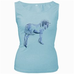 Silver Unicorn Womens  Tank Top (Baby Blue)