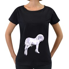 Silver Unicorn Womens' Maternity T Shirt (black)