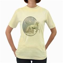 White Unicorn 1  Womens  T Shirt (yellow)