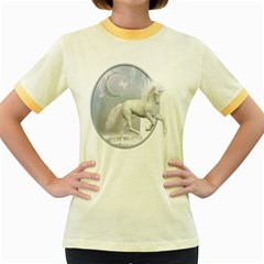 White Unicorn 1 Womens  Ringer T-shirt (Colored)