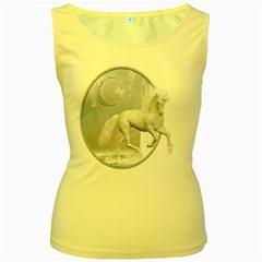 White Unicorn 1 Womens  Tank Top (yellow)
