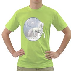 White Unicorn 1 Mens  T-shirt (Green)