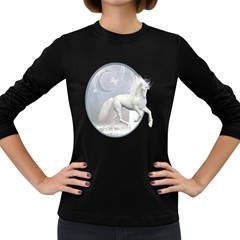 White Unicorn 1 Womens' Long Sleeve T-shirt (Dark Colored)