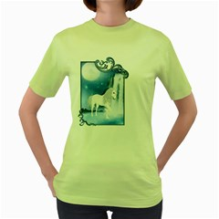 White Unicorn 2 Womens  T-shirt (Green)