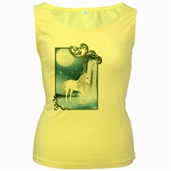 White Unicorn 2 Womens  Tank Top (Yellow)