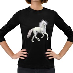 White Unicorn 3 Womens' Long Sleeve T-shirt (Dark Colored)