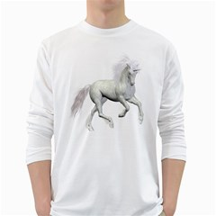 White Unicorn 3 Mens' Long Sleeve T-shirt (White)