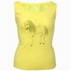 White Unicorn 4 Womens  Tank Top (Yellow)