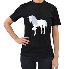 White Unicorn 4 Womens' T-shirt (Black)