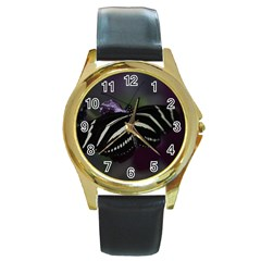 Butterfly 059 001 Round Metal Watch (gold Rim)