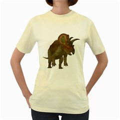 Triceratops  Womens  T-shirt (Yellow)