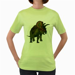 Triceratops Womens  T-shirt (Green)