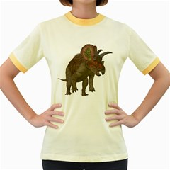 Triceratops Womens  Ringer T-shirt (Colored)