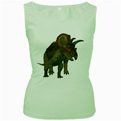 Triceratops Womens  Tank Top (Green)