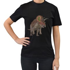 Triceratops Womens' Two Sided T Shirt (black)