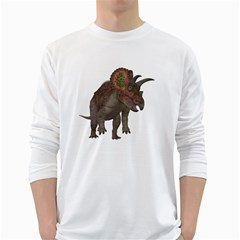 Triceratops Mens' Long Sleeve T-shirt (White)