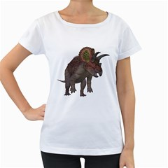 Triceratops Womens' Maternity T-shirt (White)