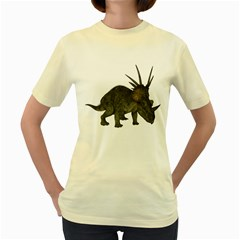 Styracosaurus 2  Womens  T-shirt (Yellow)