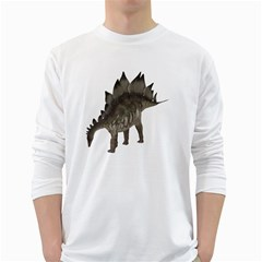 Stegosaurus 1 Mens' Long Sleeve T-shirt (White)