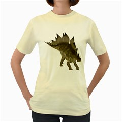 Stegosaurus 2  Womens  T-shirt (Yellow)