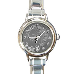 Gray Abstract Flowers Round Italian Charm Watch