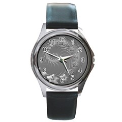 Gray Abstract Flowers Round Metal Watch (silver Rim)