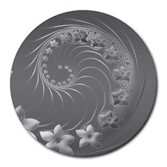 Gray Abstract Flowers 8  Mouse Pad (Round)
