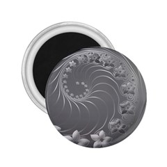 Gray Abstract Flowers 2.25  Button Magnet