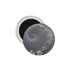 Gray Abstract Flowers 1.75  Button Magnet