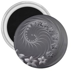 Gray Abstract Flowers 3  Button Magnet