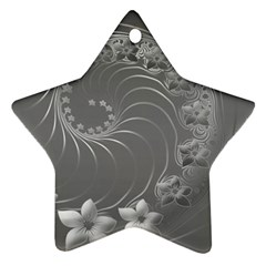 Gray Abstract Flowers Star Ornament