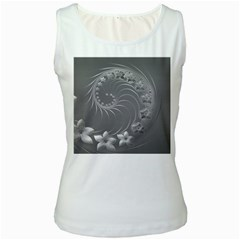 Gray Abstract Flowers Womens  Tank Top (White)