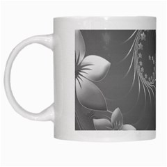 Gray Abstract Flowers White Coffee Mug
