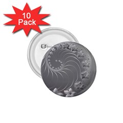 Gray Abstract Flowers 1.75  Button (10 pack)