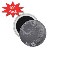 Gray Abstract Flowers 1.75  Button Magnet (100 pack)