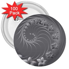 Gray Abstract Flowers 3  Button (100 pack)
