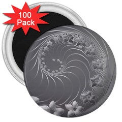 Gray Abstract Flowers 3  Button Magnet (100 Pack)