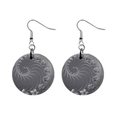 Gray Abstract Flowers Mini Button Earrings