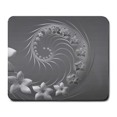 Gray Abstract Flowers Large Mouse Pad (Rectangle)
