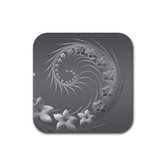 Gray Abstract Flowers Drink Coaster (Square)