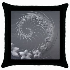 Gray Abstract Flowers Black Throw Pillow Case