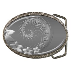 Gray Abstract Flowers Belt Buckle (oval)
