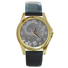 Gray Abstract Flowers Round Metal Watch (gold Rim)