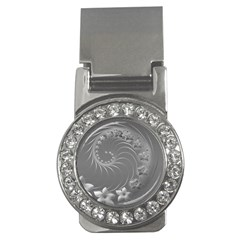 Gray Abstract Flowers Money Clip (cz)