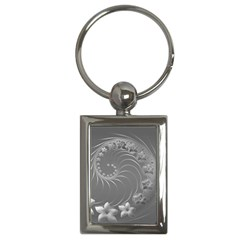 Gray Abstract Flowers Key Chain (Rectangle)