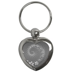 Gray Abstract Flowers Key Chain (Heart)